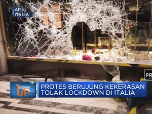 Protes Berujung Kekerasan Tolak Lockdown Di Italia