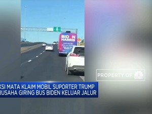 Bus Joe Biden Dikepung Pendukung Donald Trump