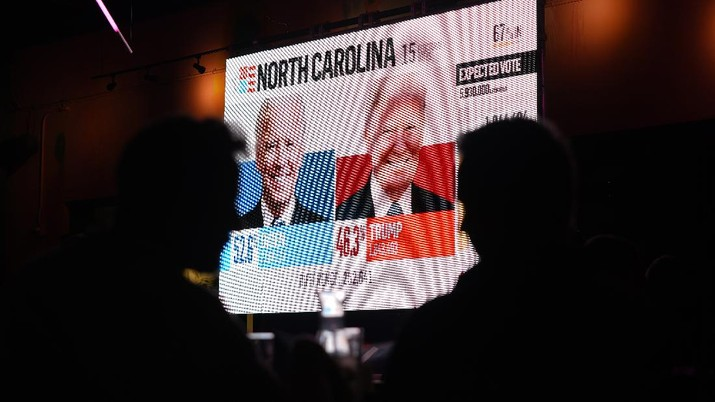 Patrons at R House restaurant watch voting returns on a large screen during an Election Night watch party and drag show, Tuesday, Nov. 3, 2020, in the Wynwood Arts District of Miami. (AP Photo/Wilfredo Lee)