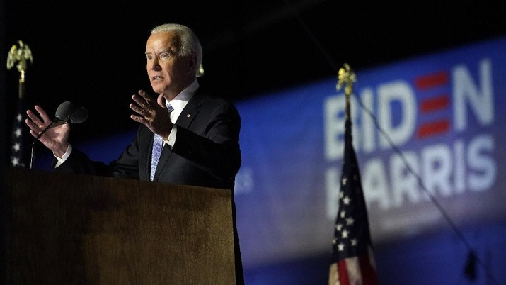 President-elect Joe Biden speaks, Saturday, Nov. 7, 2020, in Wilmington, Del. (AP Photo/Andrew Harnik)