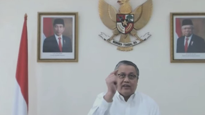 Gubernur Bank Indonesia Perry Warjiyo dalam acara Pekan Fintech Nasional 2020 (Tangkapan Layar Youtube Bank Indonesia)