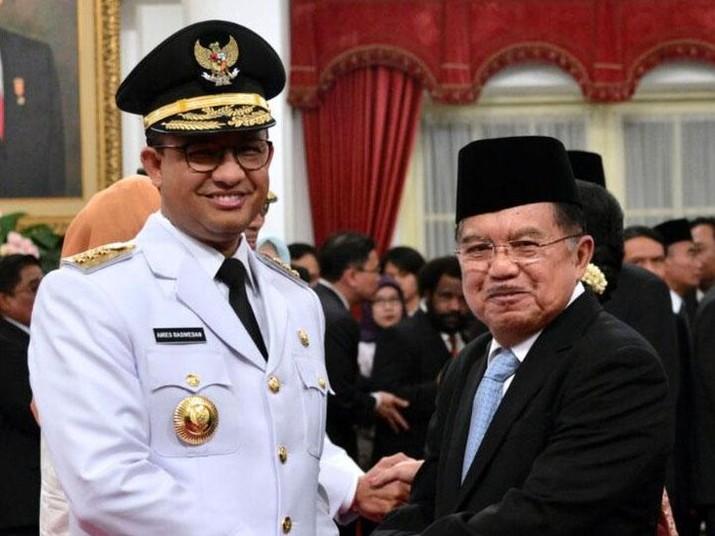 Gubernur DKI Jakarta Anies Baswedan dan Wapres Jusuf Kalla. (Foto: Pool/Biro Setpres)