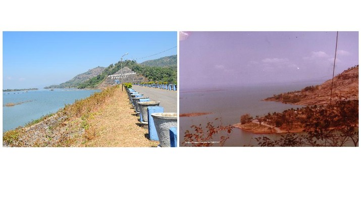 Before after waduk gajah mungkur di Wonogiri. (Dok: PUPR)