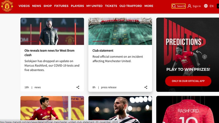 Website Manchester United: