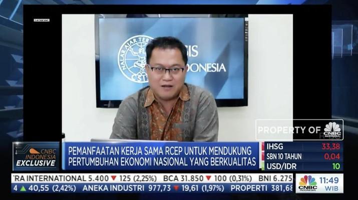 Kepala Departemen Ekonomi CSIS, Yose Rizal Damuri dalam acara webinar