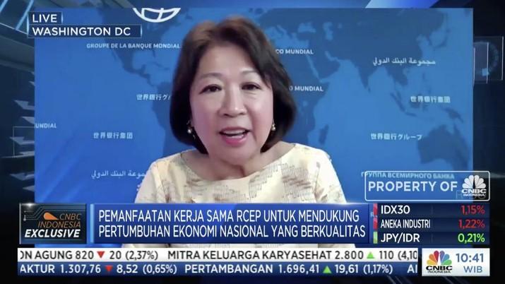 Managing Director World Bank, Mari Elka Pangestu dalam acara webinar