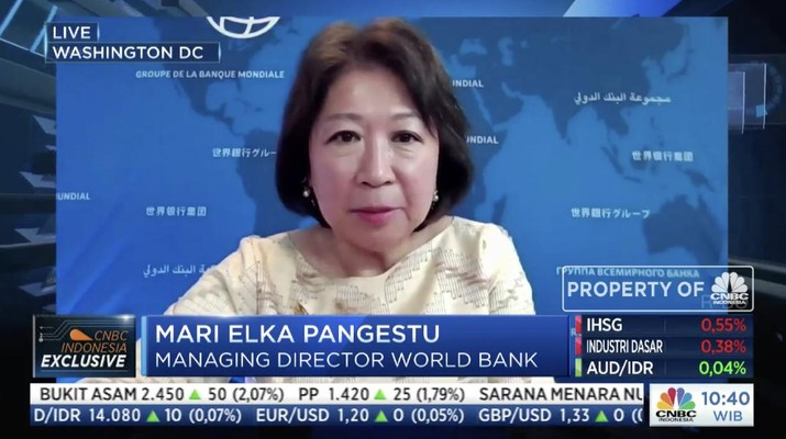 Managing Director World Bank, Mari Elka Pangestu dalam acara webinar