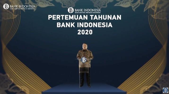 Gubernur Bank Indonesia, Perry Warjiyo dalam Pertemuan Tahunan Bank Indonesia (PTBI) 2020 (Tangkapan Layar Youtube Bank Indonesia)