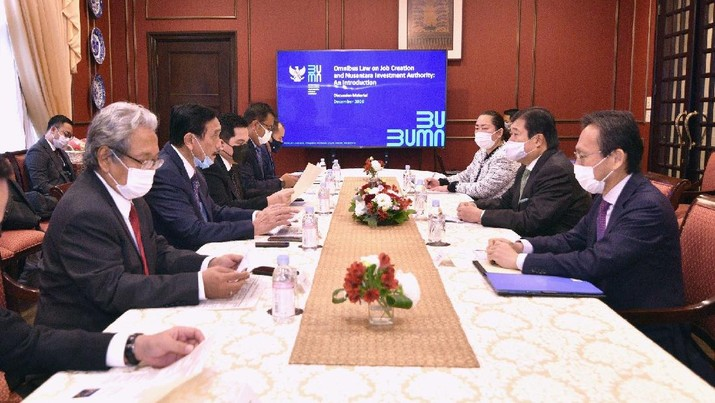 Menkomarves & Menteri BUMN maraton bertemu di antaranya dengan CEO & ED Mitsui & Co, Chairman Mitsubishi Corp, serta CEO Sojitz Corp. (Tangkapan Layar Twitter @KBRITokyo)