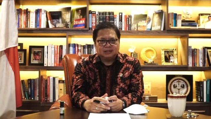 Menteri Koordinator Bidang Perekonomian Airlangga Hartarto dalam sambutan acara