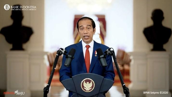 Presiden Joko Widodo dalam Pertemuan Tahunan Bank Indonesia (PTBI) 2020 (Tangkapan Layar Youtube Bank Indonesia)