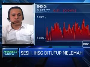 Sesi I, IHSG Ditutup Melemah