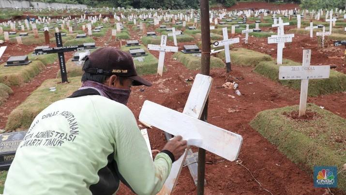 Suasana upacara pemakaman jenazah COVID-19 dengan upacara militer di kawasan TPU Pondok Ranggon Blok Unit Kristen, Jakarta Timur, Kamis (3/12/2020). Lahan khusus untuk jenazah COVID-19 muslim di TPU Pondok Ranggon, Jakarta Timur, penuh. Karena itu, TPU Pondok Ranggon memutuskan hanya melayani jenazah COVID-19 muslim dengan sistem tumpang. Dikutip dari Detikcom
