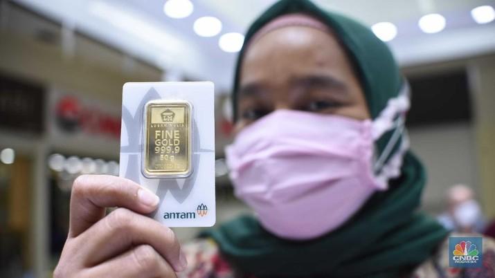 Ilustrasi Emas Antam. (CNBC Indonesia/Muhammad Sabki)