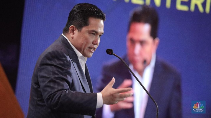 Menteri Badan Usaha Milik Negara RI (BUMN) Erick Thohir dalam acara CNBC Indonesia Award 2020 Indonesia dengan tema Menyongsong Bangkitnya Ekonomi Indonesia 2021. (CNBC