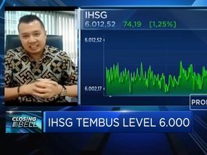Menguat 1,25%, IHSG Ditutup di Level Psikologis 6.000