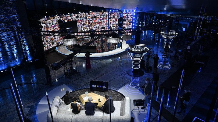 A general view of the studio before the Best FIFA Football Awards Ceremony, which this will take place via video in Zurich, Switzerland, Thursday, Dec. 17, 2020. (Valeriano Di Domenico/Pool via AP)