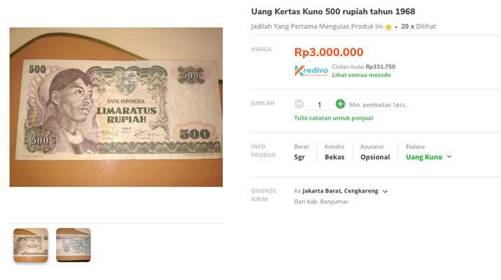Penjualan uang Rp 500 Tahun Emisi 1968 gambar Jenderal Soedirman di Marketplace. (Tangkapan Layar Tokopedia)