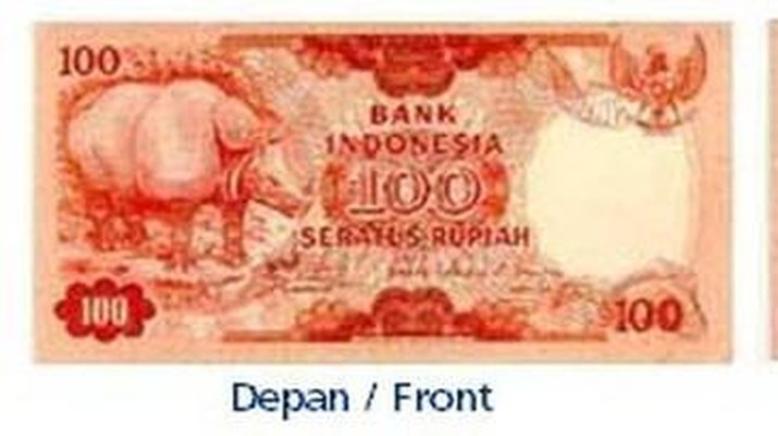 Uang Rp 100 Tahun Emisi 1977 gambar badak bercula satu. (dok. bi.go.id)