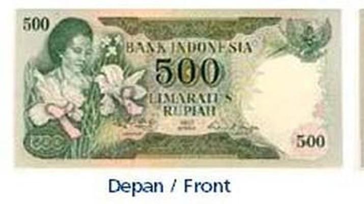 Uang Rp 500 Tahun Emisi 1977 gambar Rachmi Hatta dengan Anggrek Vanda. (dok. bi.go.id)
