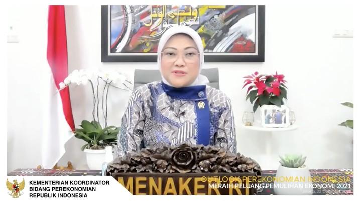 Menteri Ketenagakerjaan Ida Fauziyah dalam acara Outlook Perekonomian Indonesia 2021. (Tangkapan Layar Youtube PerekonomianRI)