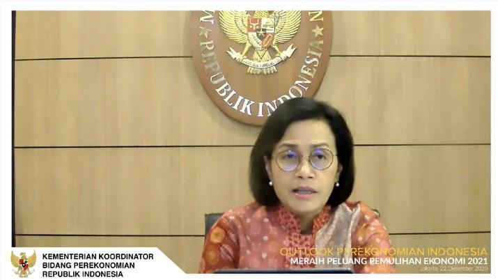 Menteri Keuangan, Sri Mulyani dalam acara Outlook Perekonomian Indonesia 2021. (Tangkapan Layar Youtube PerekonomianRI)