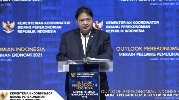 Menteri Koordinator (Menko) Perekonomian, Airlangga Hartarto dalam acara Outlook Perekonomian Indonesia 2021. (Tangkapan Layar Youtube PerekonomianRI)