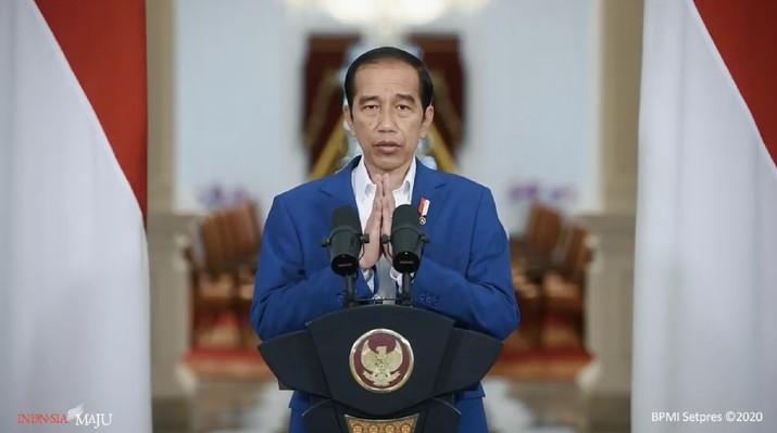 Presiden Joko Widodo dalam acara Outlook Perekonomian Indonesia 2021. (Tangkapan Layar Youtube PerekonomianRI)