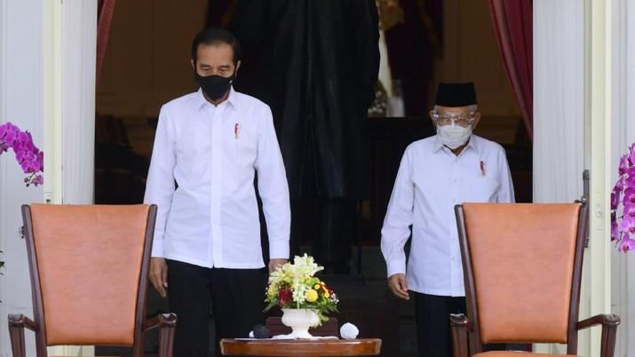 Presiden Joko Widodo (Jokowi) mengumumkan enam menteri baru di Kabinet Indonesia Maju. (Biro Pers Sekretariat Presiden/Muchlis Jr)