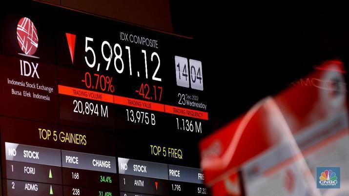Layar monitor menampilkan pergerakan Indeks Harga Saham Gabungan (IHSG) pada perdagangan saham. (CNBC Indonesia/ Tri Susilo)
