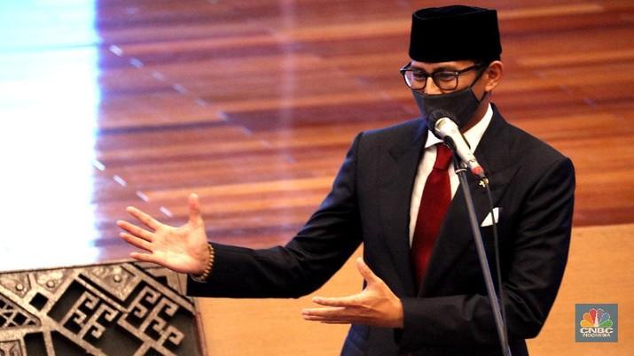 Menteri Pariwisata dan Ekonomi Kreatif (Menparekraf)  Sandiaga Uno (CNBC Indonesia/Tri Susilo)