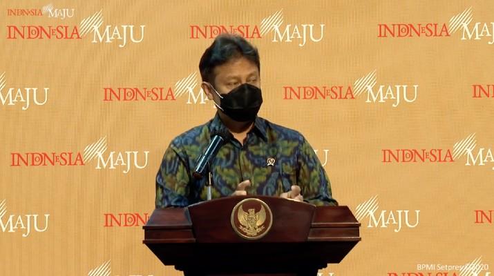 Budi Gunadi Sadikin memberikan keterangan pers menteri kesehatan, kantor presiden, (Selasa29/12/2020). (Tangkapan layar youtube sekpres)