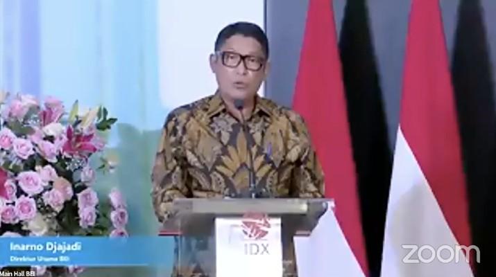 Inarno Djajadi dalam acara peresmian penutupan perdagangan BEI tahun 2020. (Tangkapan layar youtube Indonesia Stock Exchange)