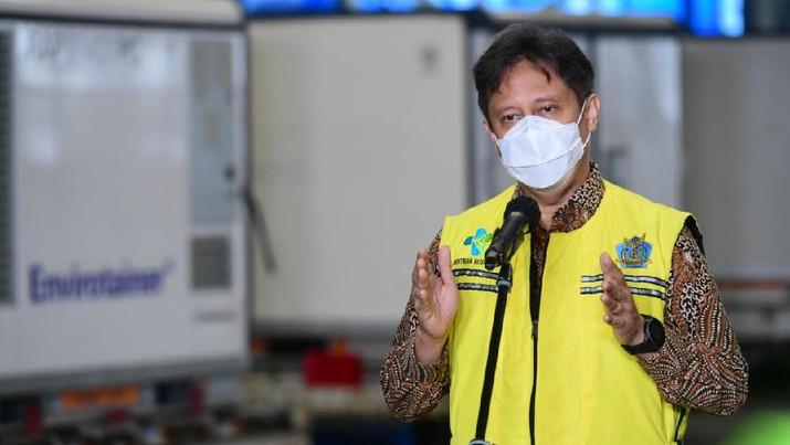 Menteri Kesehatan Budi Gunadi Sadikin saat Konfrensi Pers Kedatangan Vaksin Covid-19 Tahap 2, Bandara Soekarno Hatta, 31 Desember 2020. (Biro Pers Sekretariat Presiden/Muchlis Jr)