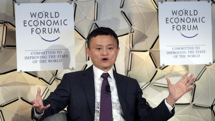Jack Ma, CEO of Alibaba group, gestures during a session at the annual meeting of the World Economic Forum in Davos, Switzerland, Wednesday, Jan. 23, 2019. (AP Photo/Markus Schreiber)
