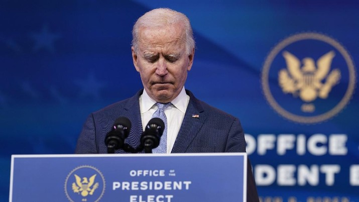 President-elect Joe Biden speaks about the violent protests in Washington from The Queen theater in Wilmington, Del., Wednesday, Jan. 6, 2021. Biden has called the violent protests on the U.S. Capitol