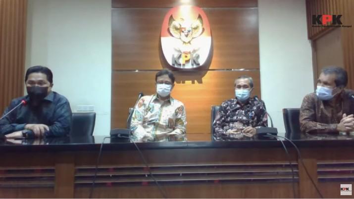 Menteri BUMN Erick Thohir, Menteri kesehatan Budi Sadikin dan Petinggi KPK di Konferensi Pers Terkait Koordinasi Pengadaan dan Pemberian Vaksin Covid-19. (Tangkapan Layar Youtube KPK)