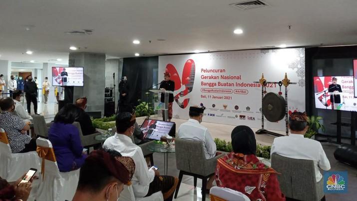 Wakil Gubernur Bali Tjokorda Oka Artha Ardana Sukawati dalam Peluncuran Gerakan Nasional Bangga Buatan Indonesia (CNBC Indonesia/ Syahrizal Sidik)