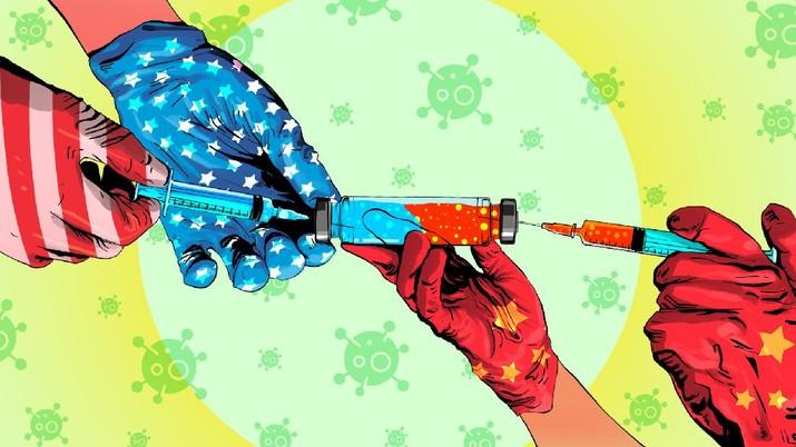 INFOGRAFIS, Vaksin China VS Vaksin Amerika, Mana yang Lebih Ampuh?