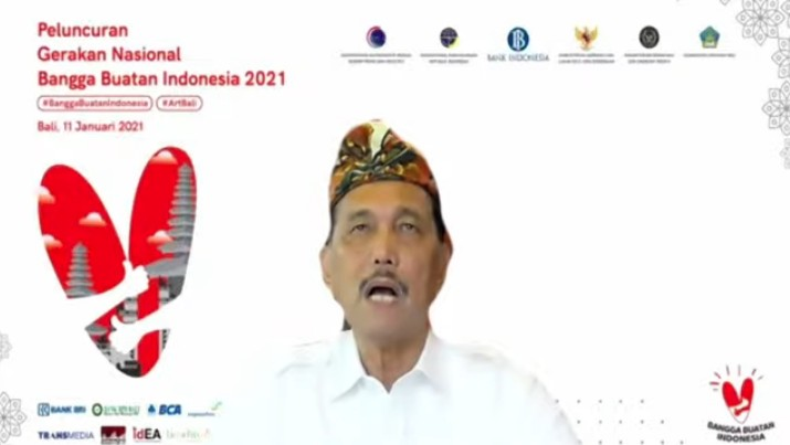 Menteri Koordinator Bidang Kemaritiman dan Investasi Luhut Binsar Pandjaitan dalam acara Peluncuran Gerakan Nasional Bangga Buatan Indonesia (Tangkapan Layar Youtube)