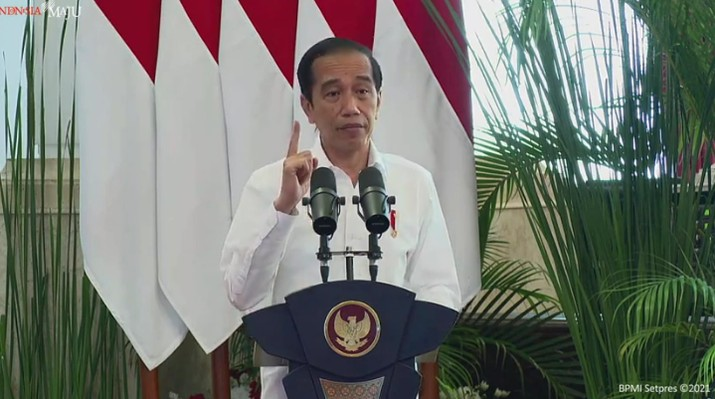 Presiden Joko Widodo dalam Peresmian Pembukaan Rapat Kerja Nasional Pembangunan Pertanian Tahun 2021, 11 Januari 2021 (Tangkapan Layar Youtube Sekretariat Presiden)