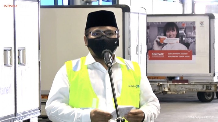 Menteri Agama Yaqut Cholil Quomas memberikan keterangan pers mengenai kedatangan vaksin Covid-19 Tahap Ketiga, Bandara Soekarno Hatta, 12 Januari 2021. (tangkapan Layar Youtube Sekretariat Presiden)