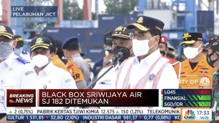 Menteri Perhubungan Budi Karya melakukan konfrensi pers penemuan black box dari kecelakaan pesawat Sriwjaya Air SJ-182. (Tangkapan Layar)