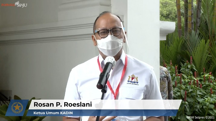 Ketua Umum Kamar Dagang Industri Indonesia (Kadin Indonesia), Rosan Perkasa Roeslani  (Tangkapan Layar Youtube Sekretariat Presiden)