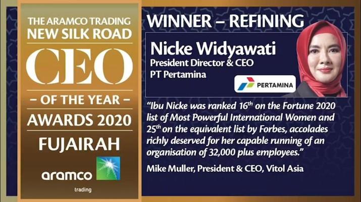 Aramco Trading Nobatkan Nicke Widyawati Top CEO 2020