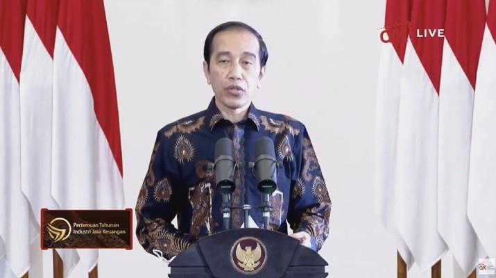 Presiden Joko Widodo dalam Pertemuan Tahunan Industri Jasa Keuangan 2021. (Tangkapan Layar Youtube Jasa Keuangan)
