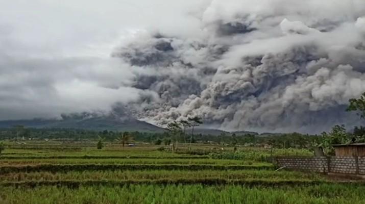 Gunung Semeru Kembali Keluarkan Awan Panas Guguran Sejauh 4,5 Kilometer (tangkapan layar via BNPB)