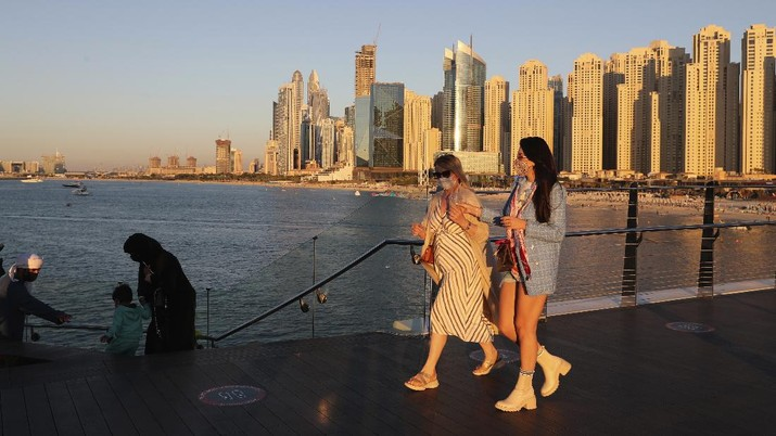 Suasana Dubai ditengah pandemi Covid-19. (AP/Kamran Jebreili)