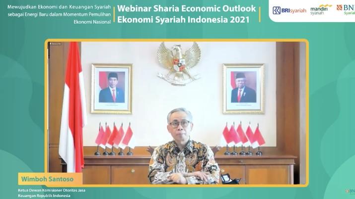 Wimboh Santoso dalam acara Sharia Economic Outlook (Ekonomi Syariah Indonesia 2021). (Tangkapan layar youtube BNI Syariah)