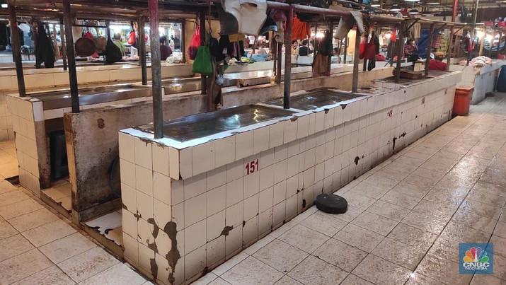 Ilustrasi pasar daging dipasar Senen yang sepi. (CNBC Indonesia/Andrean Kristianto)